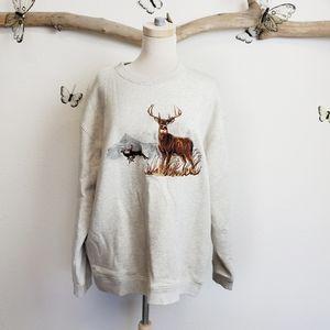 Croft & Barrow roomy embroidered deer sweatshirt